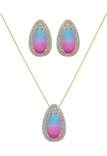 Conjunto Narcizza Semijoias Com Brinco E Colar Gota - Rainbow Cristal Multicollors Azul E Rosa Ouro