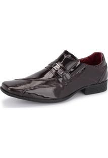 Sapato Social Sintético 835 Marrom Verniz Schiareli