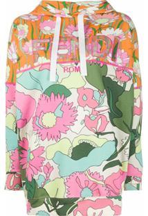 Fendi Blusa De Moletom Com Estampa Floral E Logo - Neutro