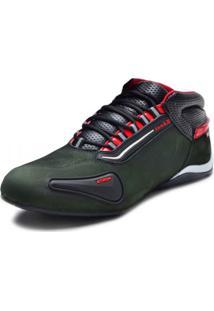 Bota Motociclista Atron Shoes Refletivo Cano Baixo Verde