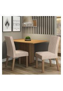 Conjunto Sala De Jantar Madesa Manu Mesa Tampo De Madeira Com 2 Cadeiras - Rustic/Imperial Marrom