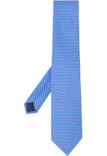 Salvatore Ferragamo Gravata Com Estampa De Trombeta - Azul