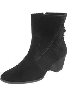 Bota Dafiti Shoes Folk Cano Curto Franjas Preta