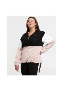 Jaqueta Plus Size Feminina Corta Vento Recorte