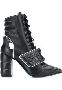 Off-White Ankle Boot Com Velcro - Preto