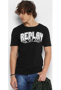 Camiseta Replay 3D Retrô Masculina - Masculino-Preto