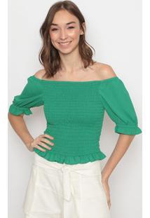 Blusa Ciganinha Com Babado- Verde Escurola Chocolãª