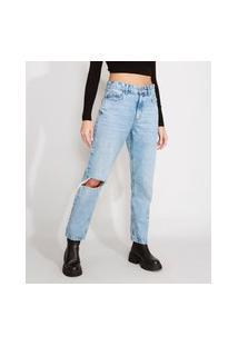Calça Jeans Feminina Reta Cintura Super Alta Destroyed Azul Claro