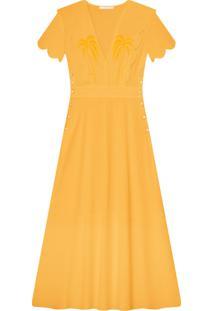 Vestido Mídi Bordado Amarelo Caramelo - Lez A Lez