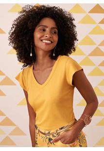 Blusa Amarela Canelada Decote V