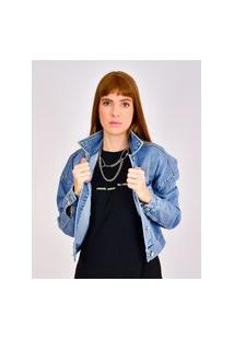 Jaqueta Jeans Toneh Cropped Azul Azul