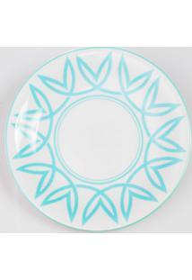 Prato Para Sobremesa Porcelana Schmidt - Dec. Helena Verde Pastel