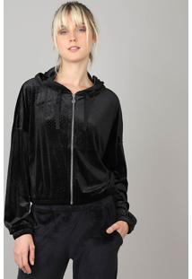 Blusão Feminino Esportivo Ace Em Veludo Com Capuz Preto