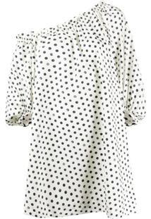 Pinko Asymmetric Polka Dot Print Dress - Neutro