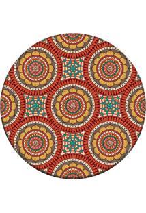 Tapete Love Decor Redondo Wevans Mandala Laranja 94Cm