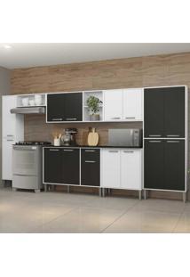 Cozinha Completa Compacta C/ Armã¡Rio E Balcã£O C/ Tampo 7 Pã§S Xangai Blues Multimã³Veis Branca/Preta - Incolor - Dafiti