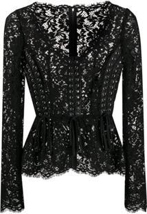 Dolce & Gabbana Floral Lace Corset Style Blouse - Preto