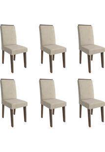 Conjunto Com 6 Cadeiras De Jantar Milena Suede Marrocos E Bege