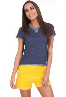 Pijama Inspirate Curto Jeans Brasil Feminino - Feminino-Azul+Amarelo