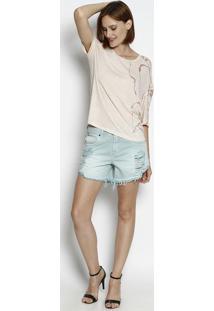 Camiseta Botonê Abstrata - Rosa Claro & Rosaforum