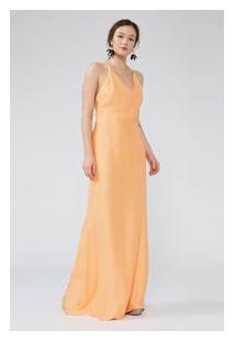 Vestido Cetim Decote Fenda Costas Laranja Luz