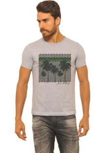 Camiseta Masculina Joss Premium New Coqueiros Geometrico Mescla Cinza