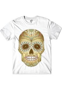 Camiseta Long Beach Caveira Mandala Sublimada Masculina - Masculino-Branco