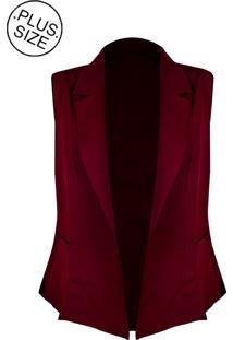 Colete Linda D Alfaiataria Com Bolsos - Plus Size (H3585) Vinho