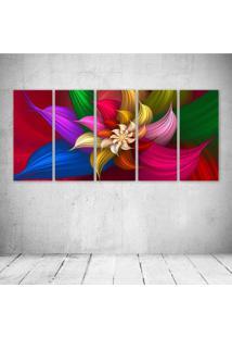 Quadro Decorativo - Petal Floral - Composto De 5 Quadros - Multicolorido - Dafiti