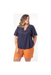 Blusa Ampla Almaria Plus Size Munny Detalhe Posterior Azul Marinho