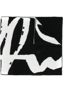Off-White Cachecol De Tricô Com Logo - Preto