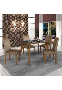 Conjunto De Mesa De Jantar Lavinia Com 4 Cadeiras Pampulha Ii Veludo Imbuia Mel Preto