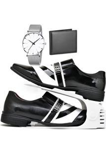 Kit Sapato Social Verniz Com Organizador, Carteira E Relógio Clean Dubuy 632Db Branco - Kanui