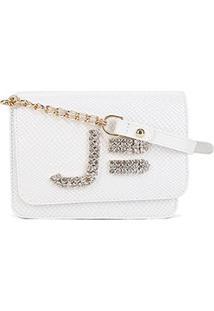 Bolsa Couro Jorge Bischoff Mini Bag Snake Feminina - Feminino-Branco
