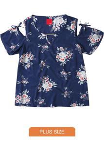 Blusa Azul Escuro Floral Recortes Vazados