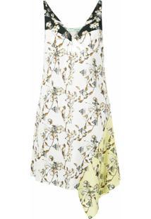 Off-White Vestido Assimétrico Floral - Branco