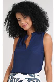 Regata Feminina Básica Ampla Decote V Azul Marinho