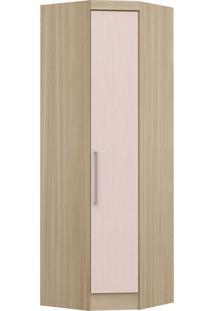 Modulo De Canto Com 1 Porta Obliquo Infinity 3805A-Castro Móveis - Nogueira / Rosa Blush