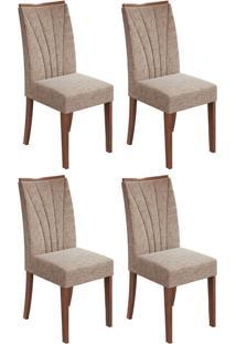 Conjunto Com 4 Cadeiras Apogeu Ll Imbuia E Bege