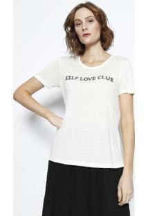 Camiseta Com Linho Bordada - Off Whitecanal