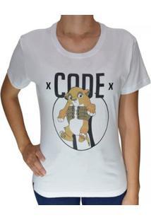 Camiseta Baby Look Code King Feminina - Feminino-Branco