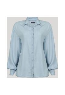 Camisa Jeans Feminina Manga Longa Volumosa Com Pregas Azul Claro