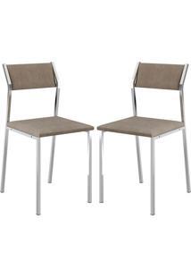 Cadeira 1709 Cromada 02 Unidades Camurça Conhaque Carraro