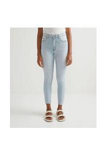 Calça Skinny Em Jeans Com Mini Puídos E Barra Corte A Fio | Marfinno | Azul | 42