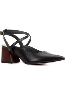 Scarpin Couro Shoestock Slingback Salto Bloco Madeira - Feminino-Preto