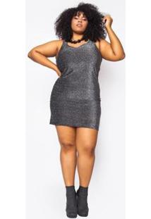Vestido Almaria Plus Size Alt Brand Mini Glow Feminino - Feminino-Preto