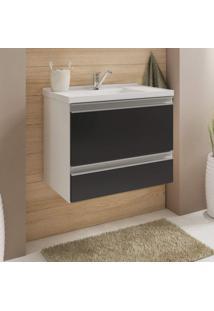 Gabinete Para Banheiro Com Cuba 1 Porta Basculante Messina Mgm Móveis Branco/Preto