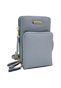 Bolsa Pequena Carteira Porta Celular Documento Transversal Fanlice Shoulder Bag De Lado Azul