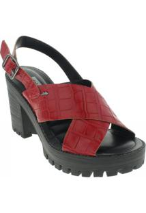 Sandália Tratorada Dakota Feminina - Feminino-Vermelho Escuro+Preto