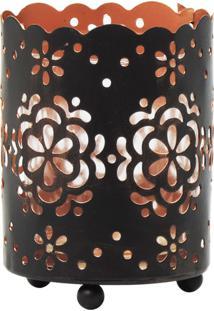 Porta Vela Kasa Ideia De Metal Nature Design Cinza 8X7,5Cm